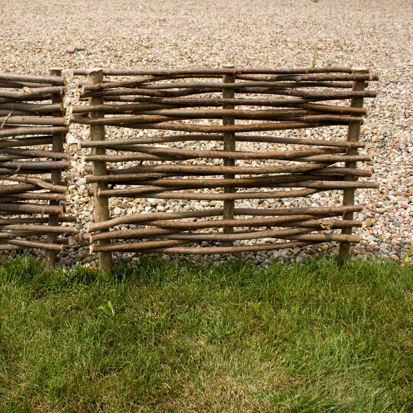 Beeteinfassung Rabattenzaun Beetumrandung Gartenabgrenzung Haselnuss 60x60cm